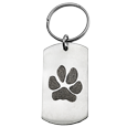 Wholesale Pet Print Key Ring: Stainless Steel Dog Tag Paw Print