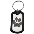 Rubber silencer shown with Stainless Steel Dog Tag Paw Print key ring