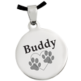 Back shown engraved of Stainless Steel Round Tag Paw Print