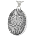 Wholesale silver 3D Babyfeet inside Heart + Mother's Fingerprint