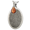 Wholesale January Birthstone Jewelry shown with oval fingerprint charm