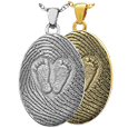 Wholesale 3D Babyfeet inside Heart + Mother's Fingerprint in silver or gold