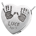 Wholesale Baby Handprints with Name + Age on Heart Silver Jewelry