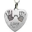 Wholesale Baby Handprints with Name + Age on Heart Pendant- no compartment