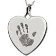 Wholesale Baby Handprint Heart Jewelry no chamber silver