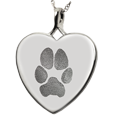 Wholesale B&B Heart Actual Pawprint Pet Jewelry no chamber silver