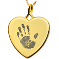 Wholesale Baby Handprint Heart Jewelry no chamber gold