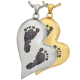 Wholesale B&B Teardrop Heart 2 Footprints Jewelry in silver and gold