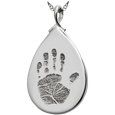 Silver Teardrop Handprint Jewelry flat no compartment