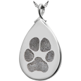 Silver Teardrop Pawprint Jewelry flat no compartment