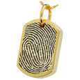 dog tag with rimmed fingerprint in gold