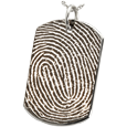 dog tag with full-coverage fingerprint