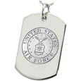 Wholesale Dog Tag with Air Force emblem shown in silver
