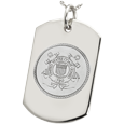 Wholesale Dog Tag with Coast Guard emblem in silver