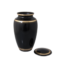 Wholesale Pet Cremation Urns: Black Gold Cat Urn shown with open lid