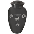 Wholesale Pawprints Classic Grey, Large shown engraved w/ silhouette & text