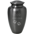 Wholesale Pet Urns: Simple Gray Urn engraved with cat paws