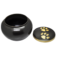 gold pawprints pet urn shown with open lid