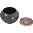 copper pawprints glossy pet urn shown with open lid