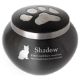 Kitty Pawprint pet memorial urn shown engraved with name