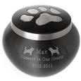 Pup Pawprint Dog Memorial Urn engraved with pet name
