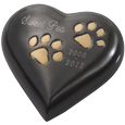Shown engraved Gun Metal Heart with Brass Paws urn keepsake