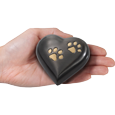 Wholesale Pet Urn Keepake: Gun Metal Heart Brass shown in hand for size