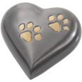 Wholesale Pet Urn Keepake: Bronze Pawprint Heart