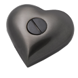 Urn opening shown of Gun Metal Heart with Brass Pawprints
