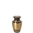 Black and Brass Stripe mini urn shown engraved