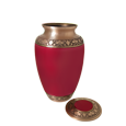 Secure threaded lid shown open of Cherry Red Sharing Urn