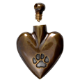 brass heart pawprint cremation jewelry pendant shown with open lid