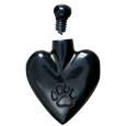 Black heart pawprint cremation jewelry pendant shown with open lid