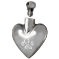 Nickel heart pawprint cremation jewelry pendant shown with open lid
