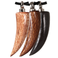 Sabre Tooth Wood Cremation Jewelry in light, dark and black wood