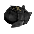back of black sleeping cat angel shown with script engraving