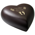 Side view shown of espresso brass heart baby urn