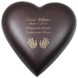 Wholesale Baby Urn: Brass Heart Espresso- Actual Hands Prints Optio