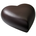 Side view shown of espresso brass heart pet urn