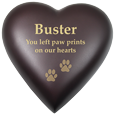 Wholesale Pet Urn: Brass Heart Espresso Dog Urn