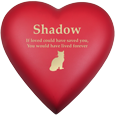 Wholesale Pet Urn: Brass Heart Scarlet Cat Urn shown engraved