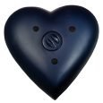 dark blue heart urn back shown with urn access