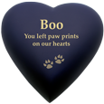 Brass Heart Cat Urn in Blue Nightfall