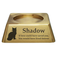 Wholesale Square Pet Urn Base Matte Brass shown with cat engraving