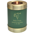 Sage Green Candle Holder Memorial shown with dove clip art