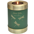 Wholesale Urn Keepsake: Sage Candle Holder Urn shown w/ candle & engraved