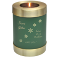 Wholesale Urn Keepsake: Sage Green Candle Holder Urn w/ engraved snowflakes