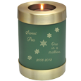 Wholesale Pet Urn: Sage Green Candle Holder Cat Urn engraved w/ snowflakes