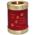Wholesale Pet Urn: Scarlet Candle Dog Urn shown w/ candle & engraved