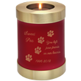 Scarlet red candle holder urn engraved with clip art & text